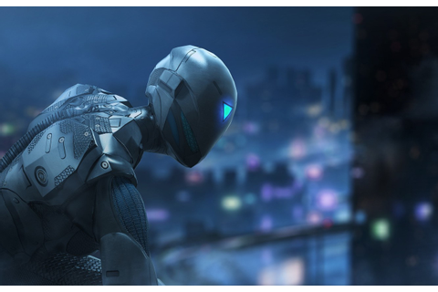 Wallpaper city, game, robot, armor, night, ninja, cyborg ...