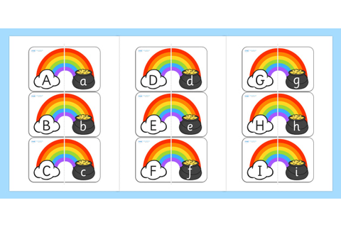 Rainbow and Pot of Gold Alphabet Matching Cards - matching