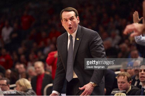 Duke head coach Mike Krzyzewski courtside during game vs ...