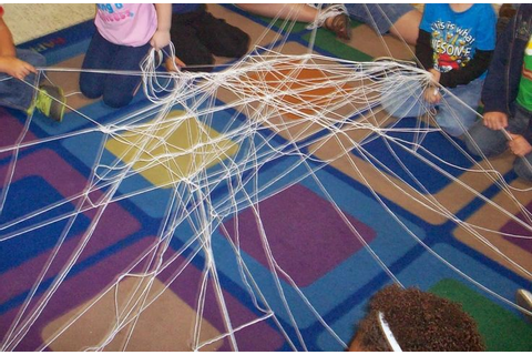 making a spider web out of yarn with children | Our game ...