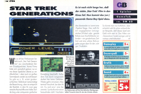 Star Trek: Generations - Beyond the Nexus (Game Boy) - N.i ...