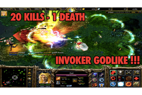 DOTA 6.85K - Invoker Gameplay #4 (GODLIKE 20 KILLS - 1 ...