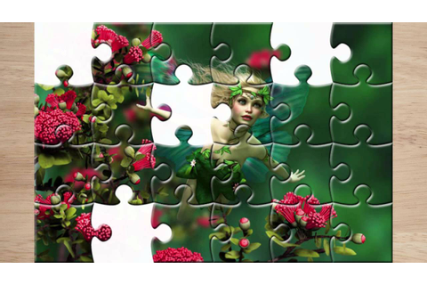 "Puzzled Hearts game. Title: ""puzzle lying fairy with blond ..."