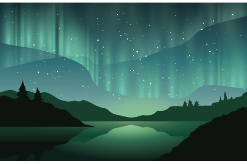 Beautiful Northern Lights - Download Free Vector Art ...