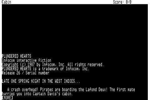 Plundered Hearts (1987) by Infocom Apple II E game