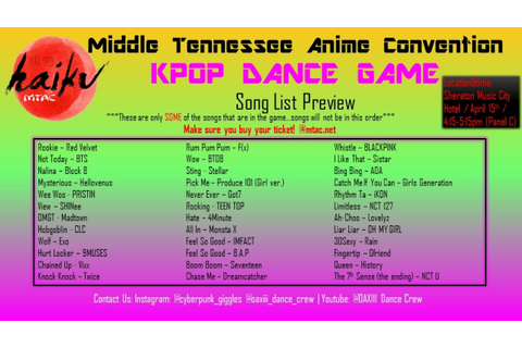 KPOP DANCE GAME 2017 @MTAC Song List Preview - YouTube