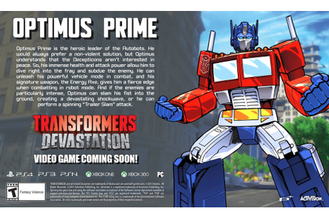 Update - Transformers: Devastation Video Game Optimus ...