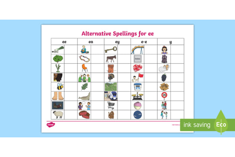Alternative Spellings ee, ey and e-e Table Worksheet - ee ...