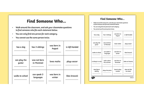 Find Someone Who... Getting to Know You Game Activity Sheet