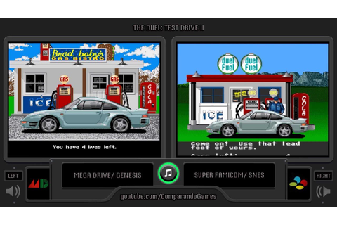 The Duel: Test Drive II (Sega Genesis vs Snes) Side by ...
