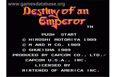 Destiny of an Emperor - Nintendo NES - Games Database