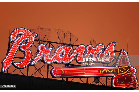 Shot of the Braves scoreboard sign at sunset during the ...