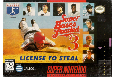 Super Bases Loaded 3: License to Steal (1995) SNES box ...