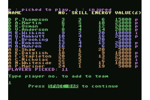 [c64] Football Manager (1984) - YouTube