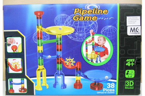 BongBongIdea: PIPELINE GAME - RUNNING MARBLES GAME - 38 PCS