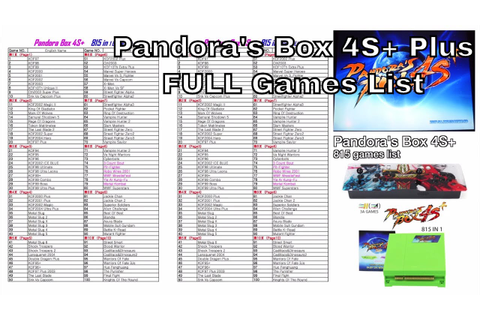 Pandora's Box 4S+ Plus 815 arcade FULL games list - YouTube