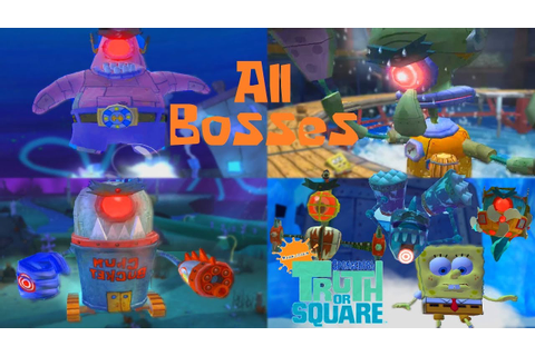 SpongeBob's Truth or Square - All Bosses [No Lifes Lost ...