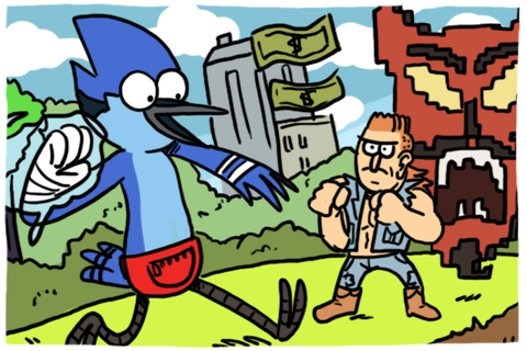 Regular Show Mordecai and Rigby in 8-Bit Land by ...