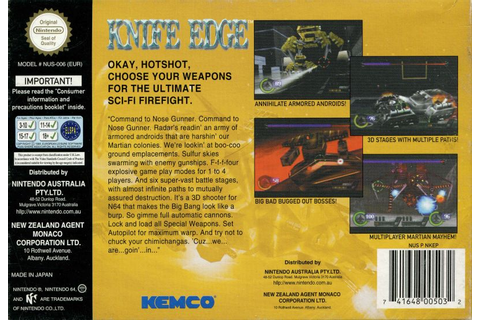 Knife Edge: Nose Gunner (1998) Nintendo 64 box cover art ...