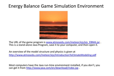 PPT - Energy Balance Game Simulation Environment ...