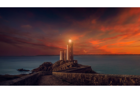 Lighthouse Sunset Scene, HD Nature, 4k Wallpapers, Images ...