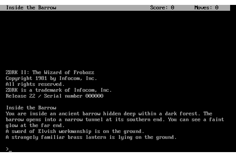Zork II: The Wizard of Frobozz (1983) by Infocom MS-DOS game