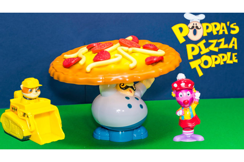 Playing the Poppa Pizza Topple Game with Paw Patrol vs ...