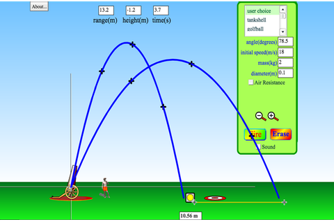 Projectile Motion - Angle | Initial Speed | Mass - PhET ...