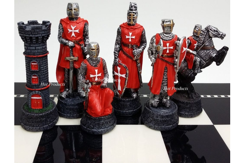 Medieval times crusades warrior red & blue chess men set ...