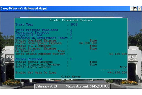Hollywood Mogul Download (1995 Simulation Game)