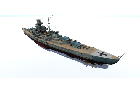 3D model Bismarck battleship VR / AR / low-poly FBX ...
