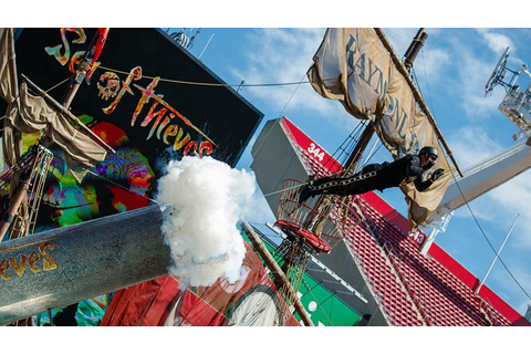 Human cannonball is shot out of pirate cannon to celebrate ...