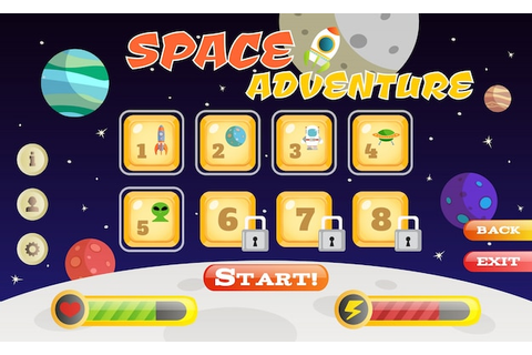 Scifi space adventure game user interface template vector ...