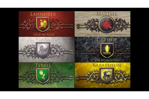 Game of Thrones - Houses of the seven Kingdoms! - YouTube