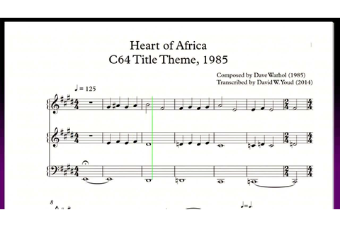 C64 Heart of Africa, Game Title Sheet Music (Dave Warhol ...