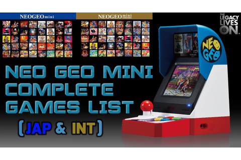 Neo Geo Mini || Complete Games List [All the Games ...