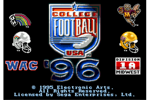 Play College Football USA 96 Sega Genesis online | Play ...