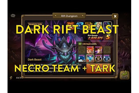 SUMMONERS WAR / DARK RIFT BEAST MID TO LATE GAME TEAM ...