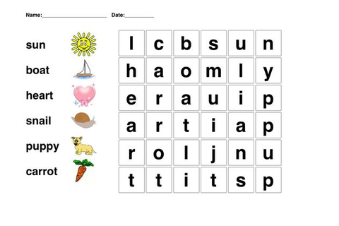Kindergarten Word Search | Picture word puzzle for ...