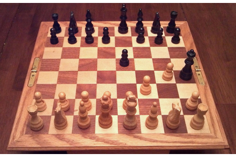 Chess Board and Pieces in Fool's Mate Position