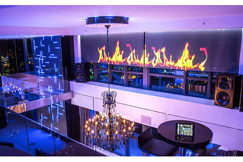 Miami Penthouse Mancave Gameroom Digital Wall Fireplace ...