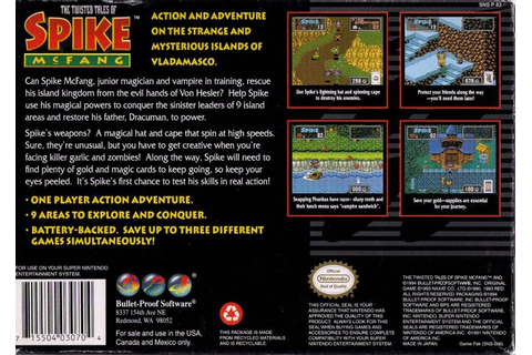 The Twisted Tales of Spike McFang (1993) SNES box cover ...