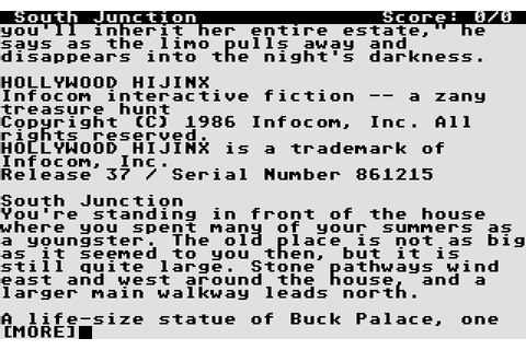 Hollywood Hijinx (1986) by Infocom Atari ST game