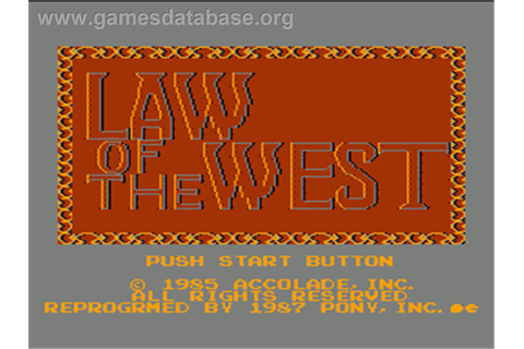 Law of the West - Nintendo NES - Games Database