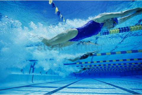 Female swimmers racing underwater in pool Stock Photo ...