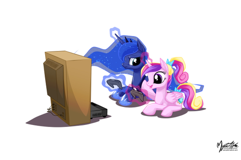 Luna and Cadance at Video Games by mysticalpha on DeviantArt