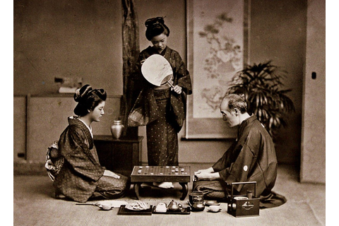 "MASTER TEACHES TWO GEISHA THE GAME OF ""GO"" -- Relaxing wit ..."