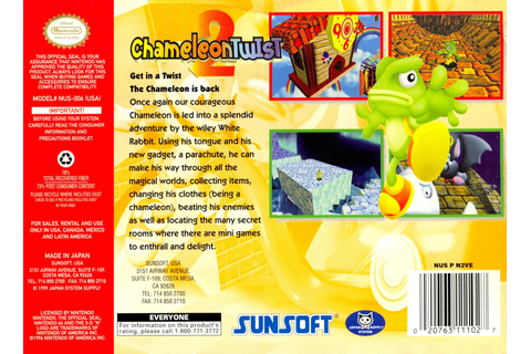 Chameleon Twist 2 Video Game Box Art - ID: 27037 - Image Abyss