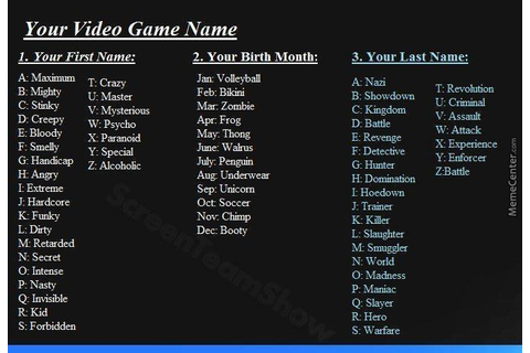 Whats Ur Video Game Name? by vistlip - Meme Center