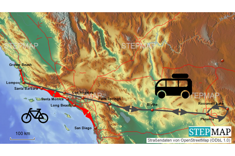 StepMap - Pacific Coast Highway und Phoenix - Landkarte ...